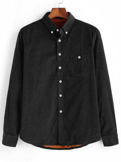 shops Plain Pocket Corduroy Fleece Shirt - BLACK L Mobile