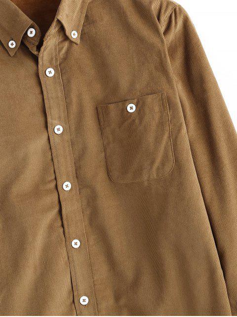 Einfaches Tasche Corduroy Fleece Shirt - Goldgelb L Mobile