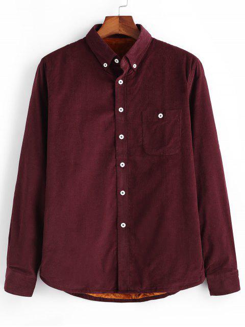 Einfarbiger Cord Fleece Hemd - Roter Wein M Mobile