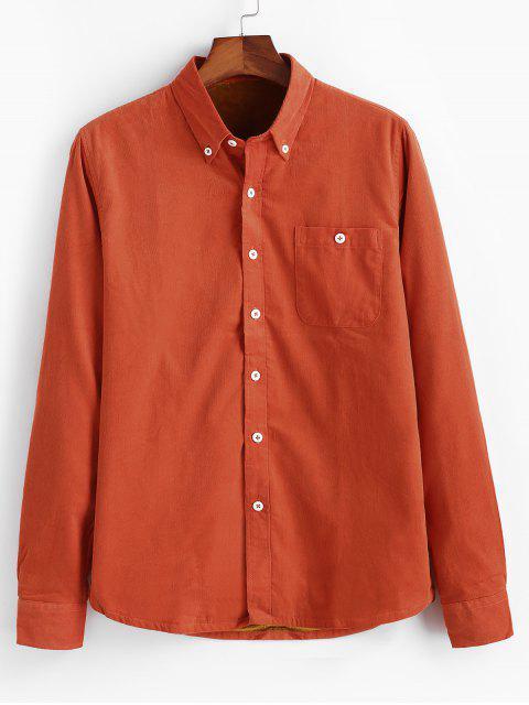 Einfarbiger Cord Fleece Hemd - Kürbis Orange S Mobile