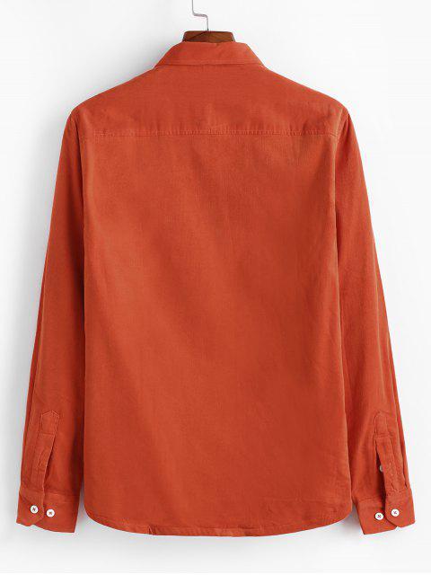Einfaches Tasche Corduroy Fleece Shirt - Kürbis Orange L Mobile
