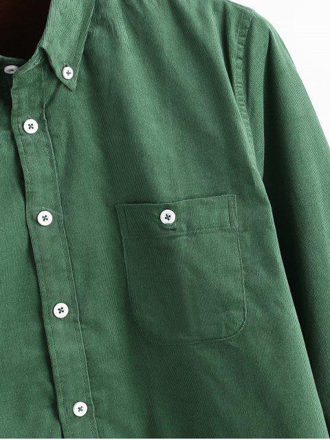 Einfaches Tasche Corduroy Fleece Shirt - Dunkelgrün L Mobile