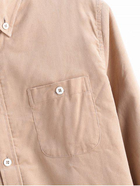 Einfarbiger Cord Fleece Hemd - Beige L Mobile