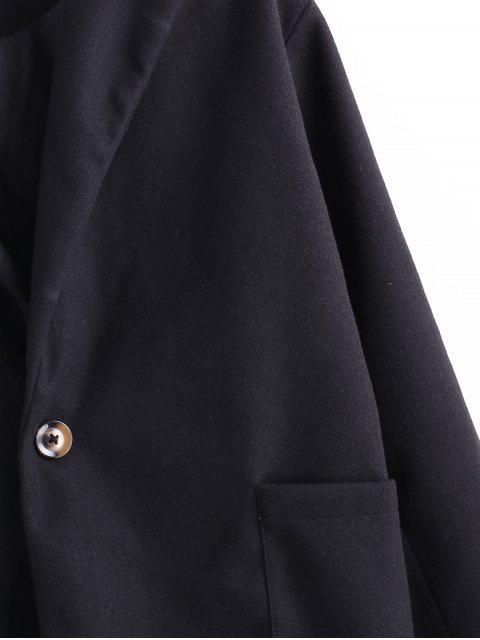 Einfarbiger Tasche Ein Knopf Mantel - Schwarz M Mobile