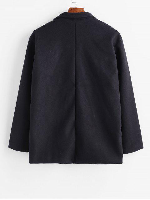 Einfarbiger Tasche Ein Knopf Mantel - Schwarz L Mobile