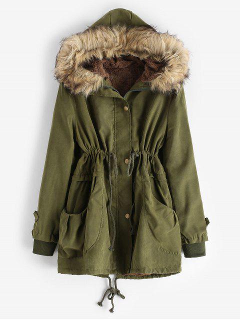 人造毛皮內襯口袋大衣外套 - 軍綠色 L Mobile