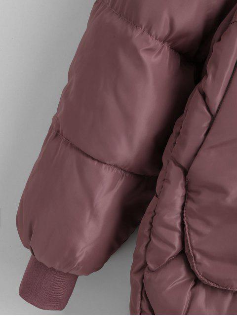 Raglanärmel Parka Mantel mit Reißverschluss und Taschen - Glyzinie Lila 2XL Mobile