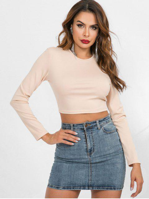 affordable Long Sleeve Crop Slim Tee - APRICOT M Mobile