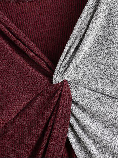 VerdrehtesFarbblock Cabrio Langarm T Shirt - Multi S Mobile