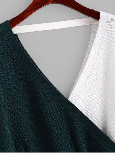 ZAFUL V Ausschnitt Farbblock Pullover mit Kreuzriemen - Multi-A M Mobile