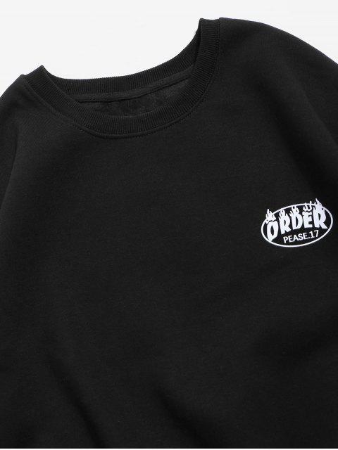 抓絨字母圖形打印降肩運動衫 - 黑色 S Mobile