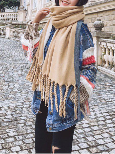 Цветной блок Полосатый принт Твист С бахромой Шарф - Верблюд-коричневый  Mobile