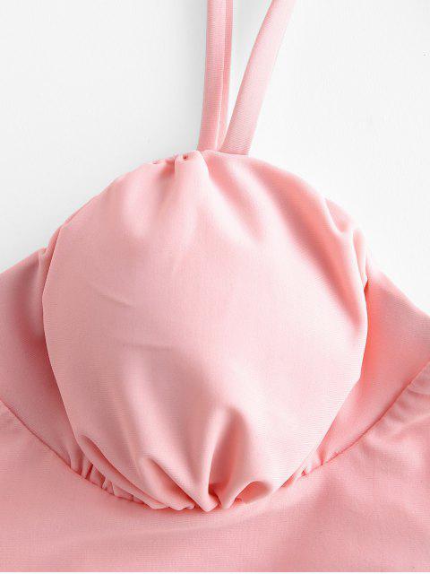 ZAFUL Blumen-Bindung Schulter mit Rüschen besetzten High Cut Tankini Badeanzug - Rosa XL Mobile
