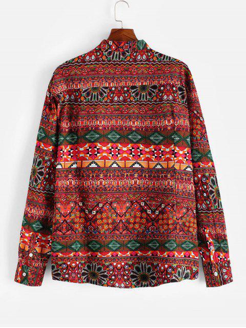 民族幾何印花亨利長袖襯衫 - 多-A XL Mobile