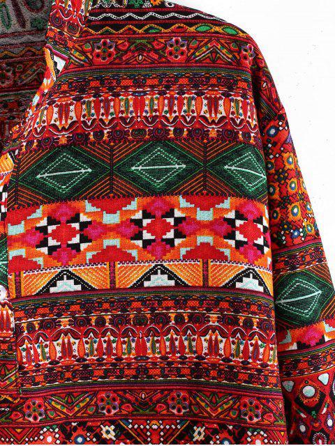 民族幾何印花亨利長袖襯衫 - 多-A 2XL Mobile