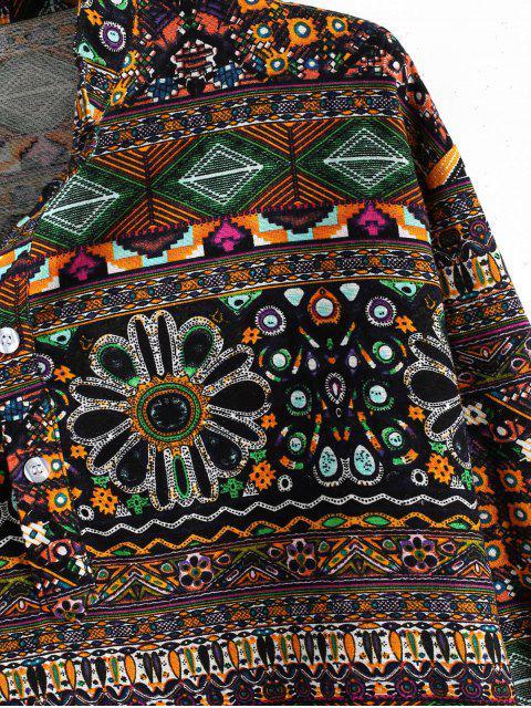 Ethnische Geometric Print Henley Langarm-Shirt - Multi-B 3XL Mobile