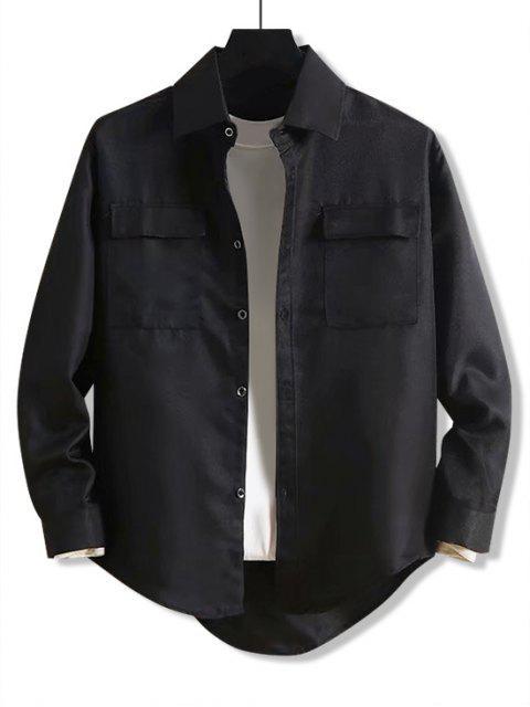 固體字母刺繡口袋高低襯衫 - 黑色 M Mobile