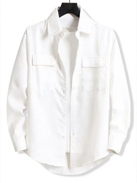 Solide Brief Stickerei Tasche High Low-Hemd - Weiß 3XL Mobile