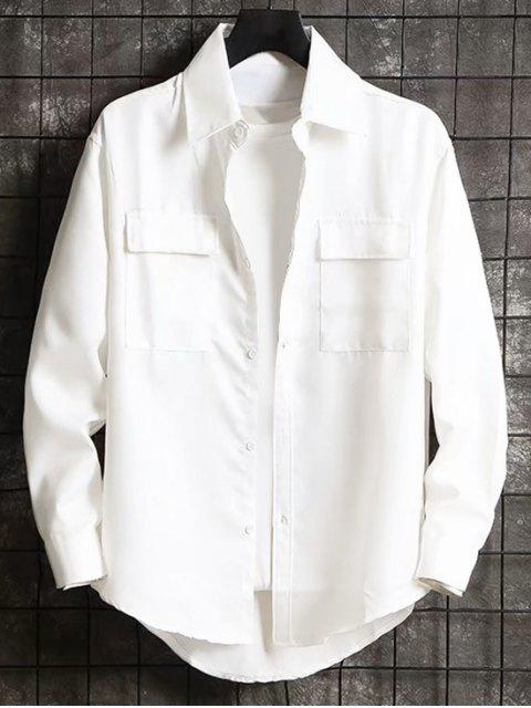 固體字母刺繡口袋高低襯衫 - 白色 3XL Mobile