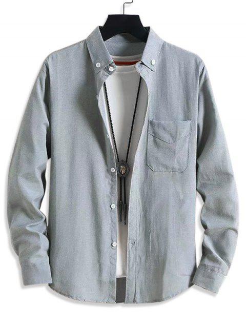 Solide Taschen-beiläufige lange Hülsen-Knopf-Hemd - Grau L Mobile
