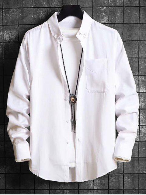 固體口袋休閒長袖襯衫扣 - 白色 M Mobile