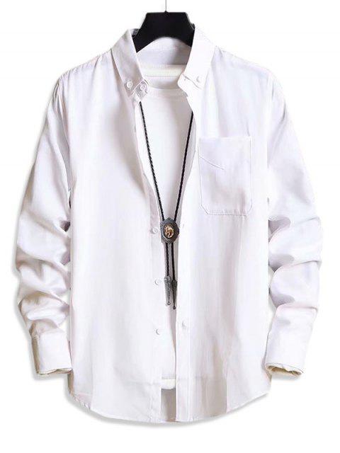 固體口袋休閒長袖襯衫扣 - 白色 L Mobile