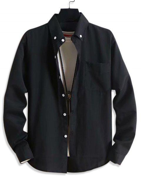 固體口袋休閒長袖襯衫扣 - 黑色 M Mobile