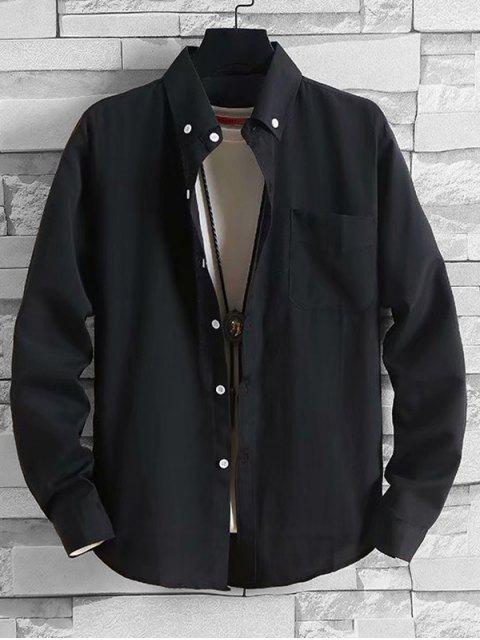Solide Taschen-beiläufige lange Hülsen-Knopf-Hemd - Schwarz L Mobile