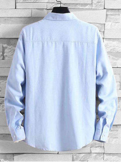 Solide Taschen-beiläufige lange Hülsen-Knopf-Hemd - Helles Blau S Mobile