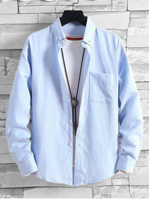 fashion Solid Pocket Casual Long Sleeve Button Shirt - LIGHT BLUE L Mobile