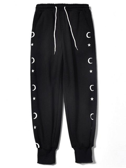 outfits Moon and Star Printed Casual Jogger Pants - BLACK L Mobile