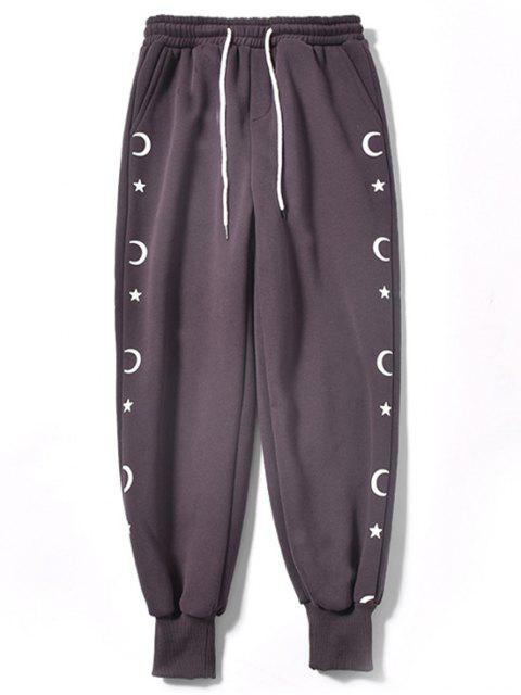 月亮和星空印花休閒褲慢跑者 - 暗紫色 2XL Mobile