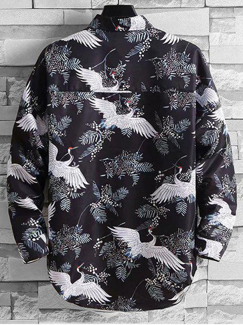 outfits Flying Crane Plant Print Drop Shoulder High Low Shirt - MULTI 3XL Mobile