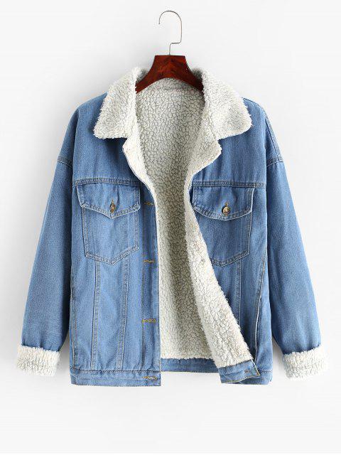 Klappe Taschen Knopf Jeansjacke - Jeans Blau M Mobile