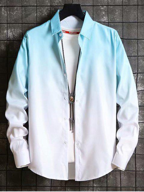 Camisa Holgado Degradado Manga Larga - Azul Claro XS Mobile