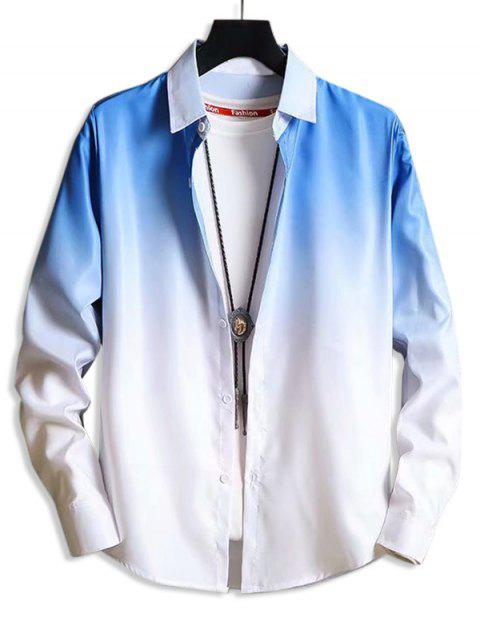 ladies Ombre Button Up Lounge Shirt - BLUE S Mobile