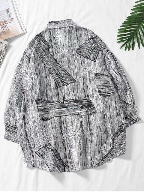shop Drop Shoulder Wood Grain Print High Low Shirt - MULTI 3XL Mobile
