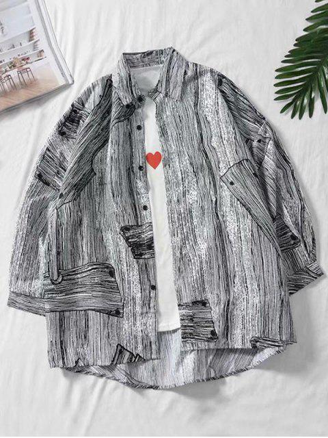 Camisa Asimétrica Estampada Madera Hombro Caído - Multicolor XL Mobile