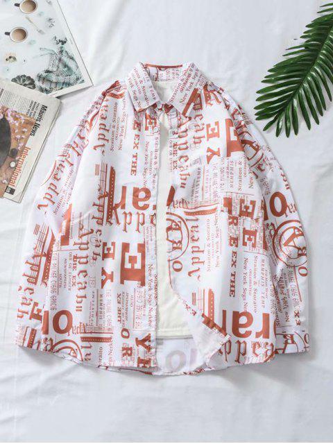 Camisa con Botón y Bolsillo de Gráfico de Letras - Multicolor L Mobile
