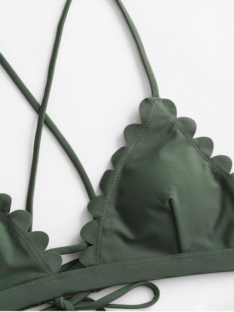 ZAFUL Bikini Festoneado de Hoja Floral de Encaje - Verde Marrón Claro M Mobile