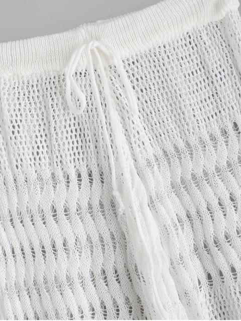Pantalon de Plage Tricoté au Crochet Taille Haute à Cordon - Blanc Taille Unique Mobile