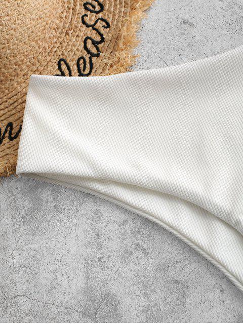 ZAFUL Bikini Bottom de Cintura Alta Acanalado - Blanco S Mobile