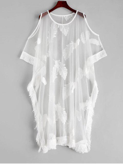 Blusa de Playa Trasparente de Malla con Flecos - Blanco Talla única Mobile