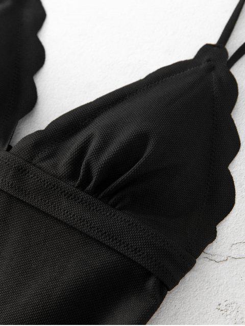 ZAFUL紋理扇形連體泳裝 - 黑色 S Mobile