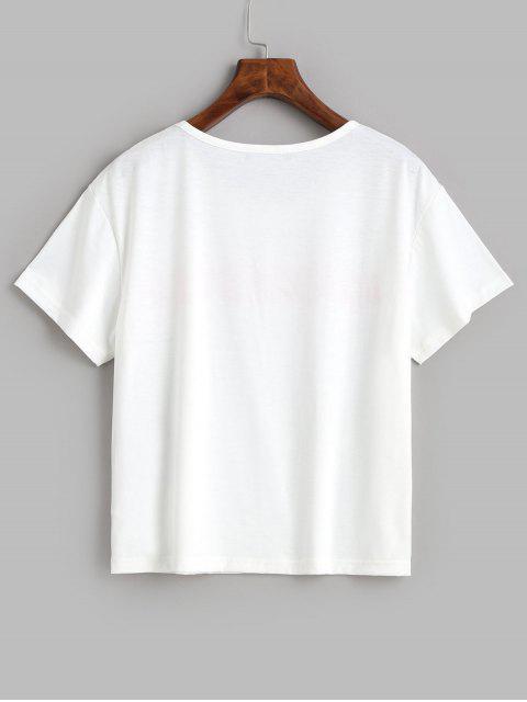 ZAFUL T-shirt Lettre Graphique à Manches Courtes - Blanc L Mobile