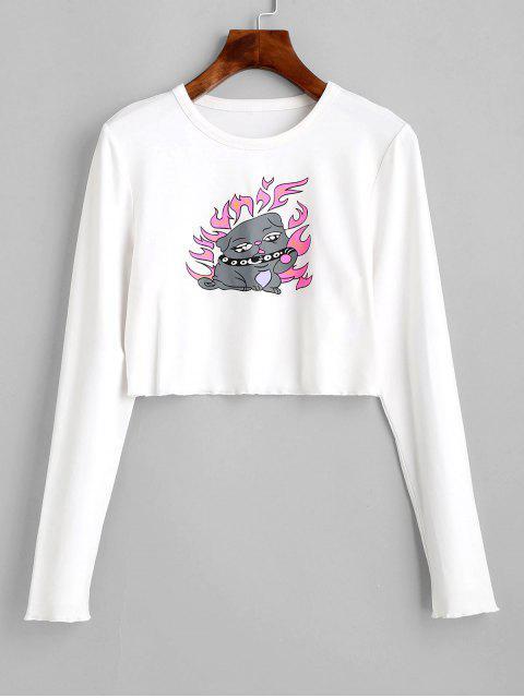 ZAFUL T-shirt Court Chien en Feu Imprimé à Manches Longues - Blanc Lait L Mobile