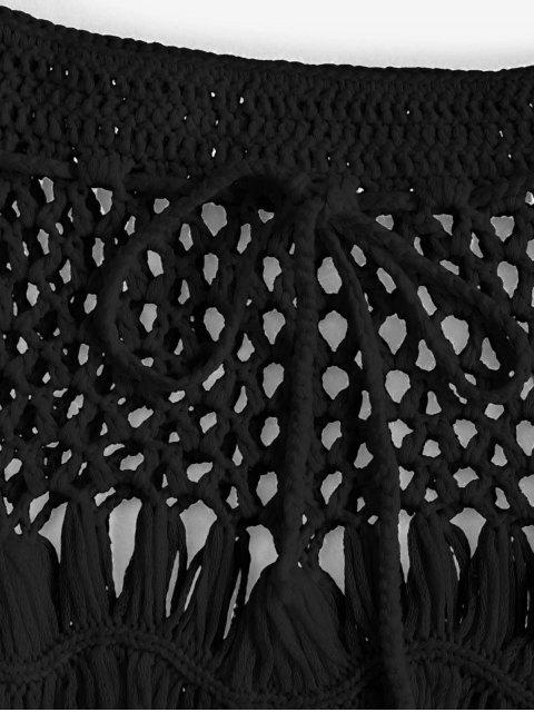 affordable Scalloped Edge Crochet Skirt - BLACK M Mobile