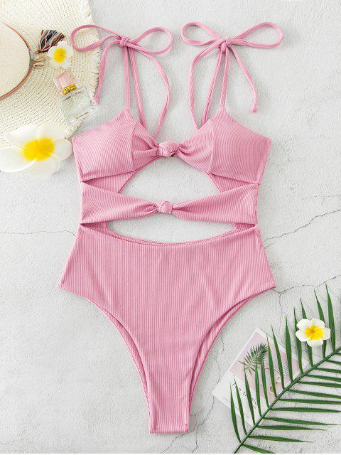 trendy ZAFUL Ribbed Knot Tie Shoulder High Cut Swimsuit - PINK ROSE XL Mobile