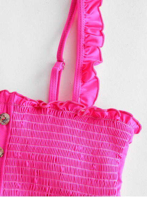 outfits ZAFUL Button Embellished Smocked Bikini Set - HOT PINK M Mobile