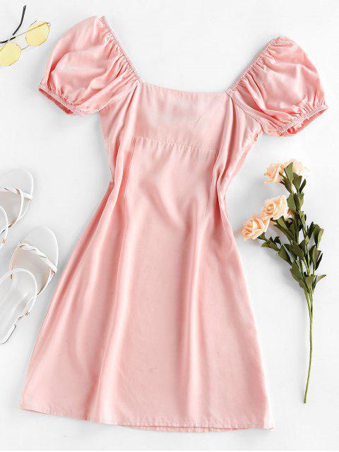 fashion ZAFUL Knot Slit Milkmaid Dress - LIGHT PINK L Mobile